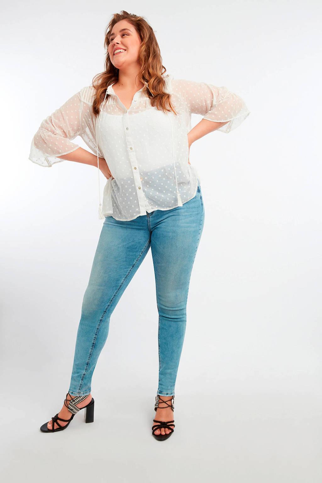 MS Mode semi-transparante blouse gebroken wit, Gebroken wit