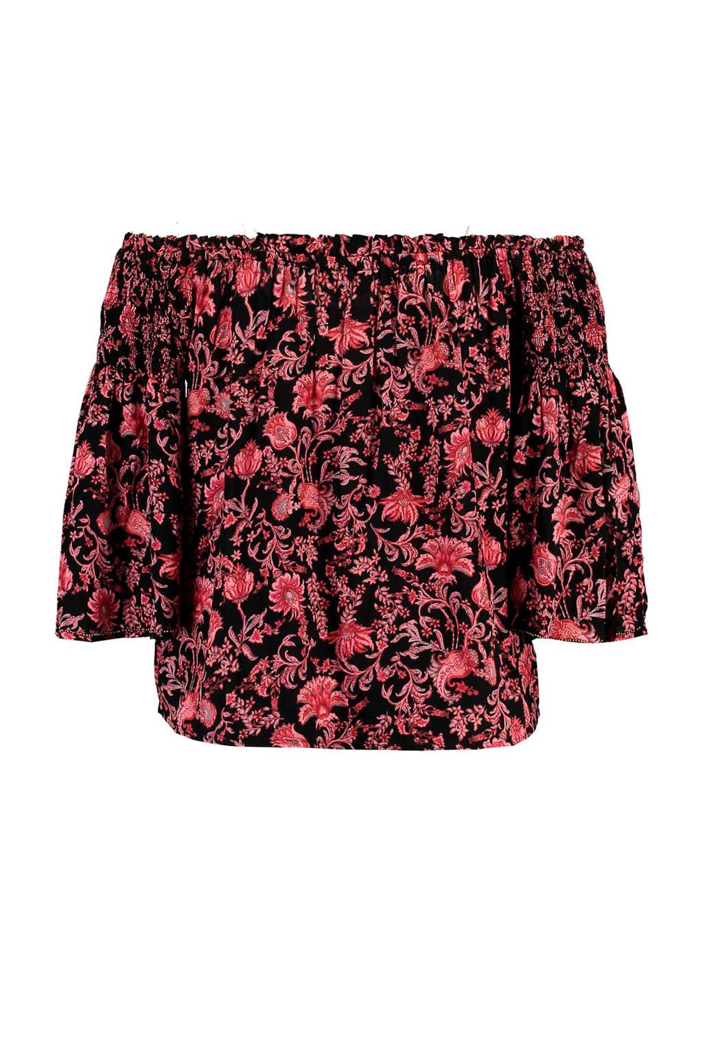 MS Mode gebloemde off shoulder top zwart/roze, Zwart/roze
