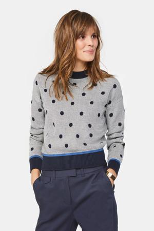 gebreide trui met stippen blauw