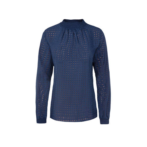 WE Fashion geruite semi-transparante top blauw