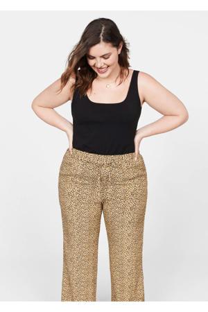 straight fit broek met panterprint beige