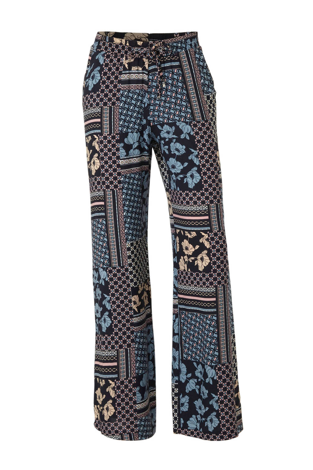 C&A Yessica loose fit broek met all over print donkerblauw/roze, Donkerblauw/roze