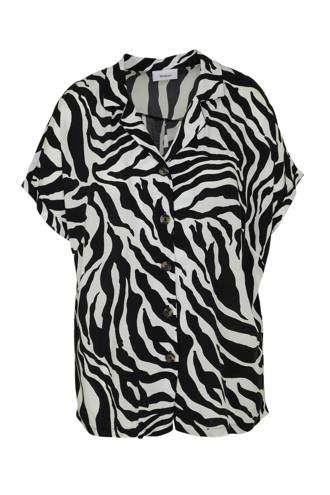 XL Yessica blouse met zebraprint zwart/wit