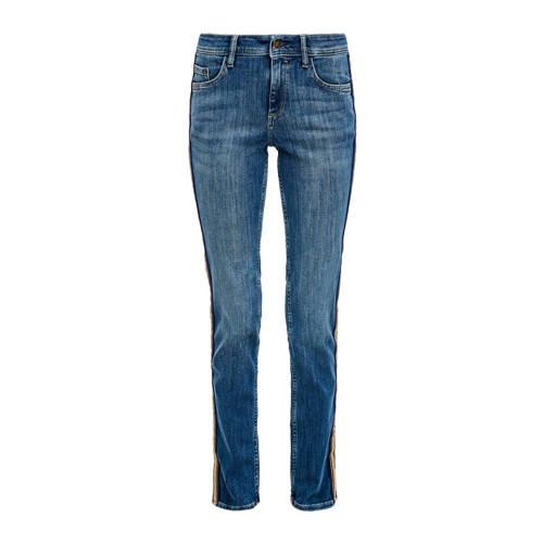 s.Oliver slim fit jeans met zijstreep blauw