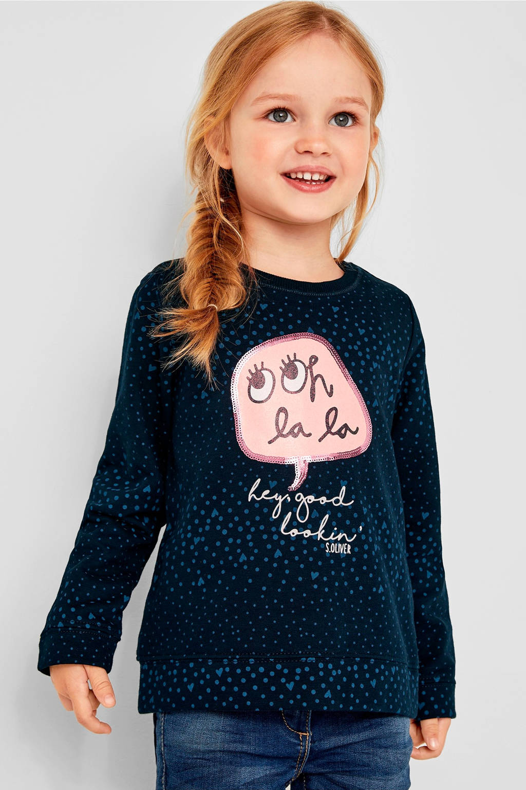 s.Oliver glittersweater met all over print donkerblauw, Donkerblauw