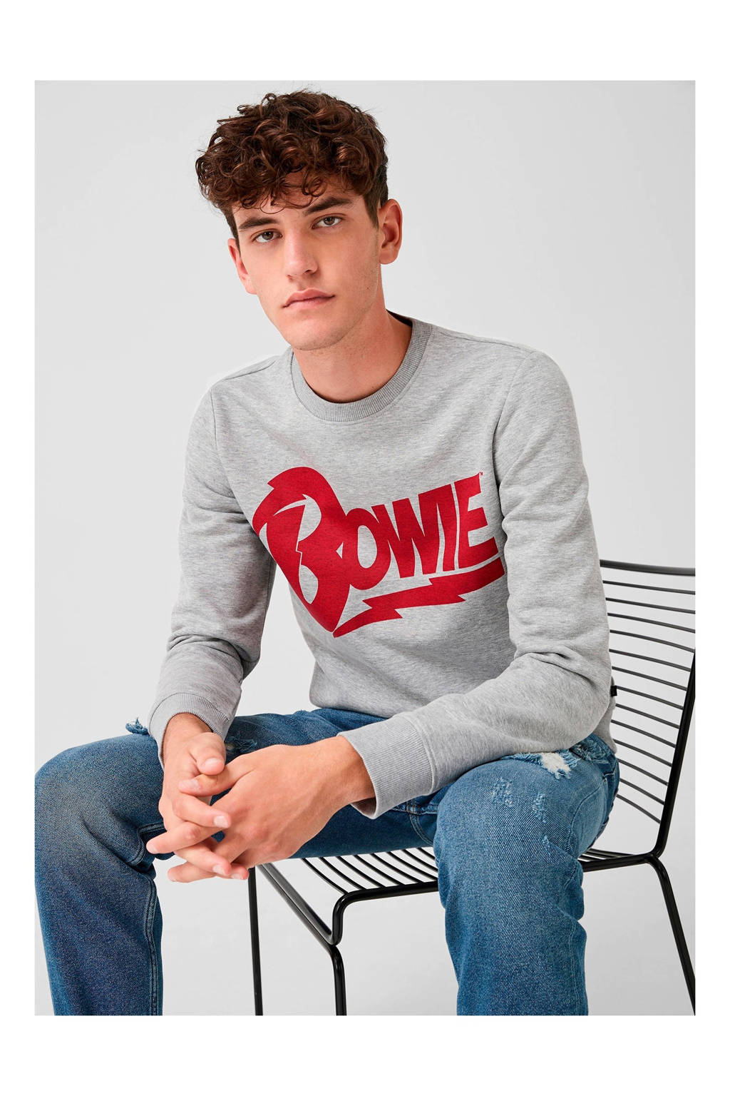 Q/S designed by sweater met tekst grijs, Grijs