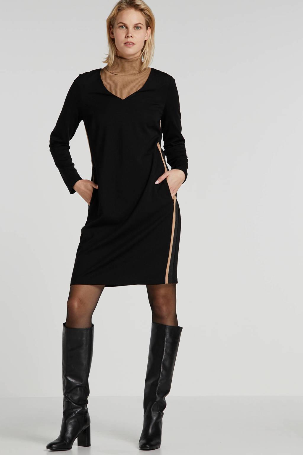 comma casual identity jersey jurk met contrastbies zwart/bruin, Zwart/bruin