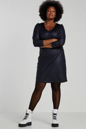 jersey jurk met contrastbies donkerblauw