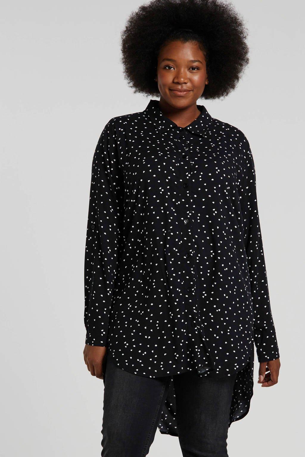 Twister tuniek met all over print zwart/wit, Zwart