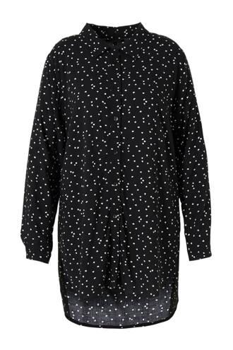 tuniek met all over print zwart/wit
