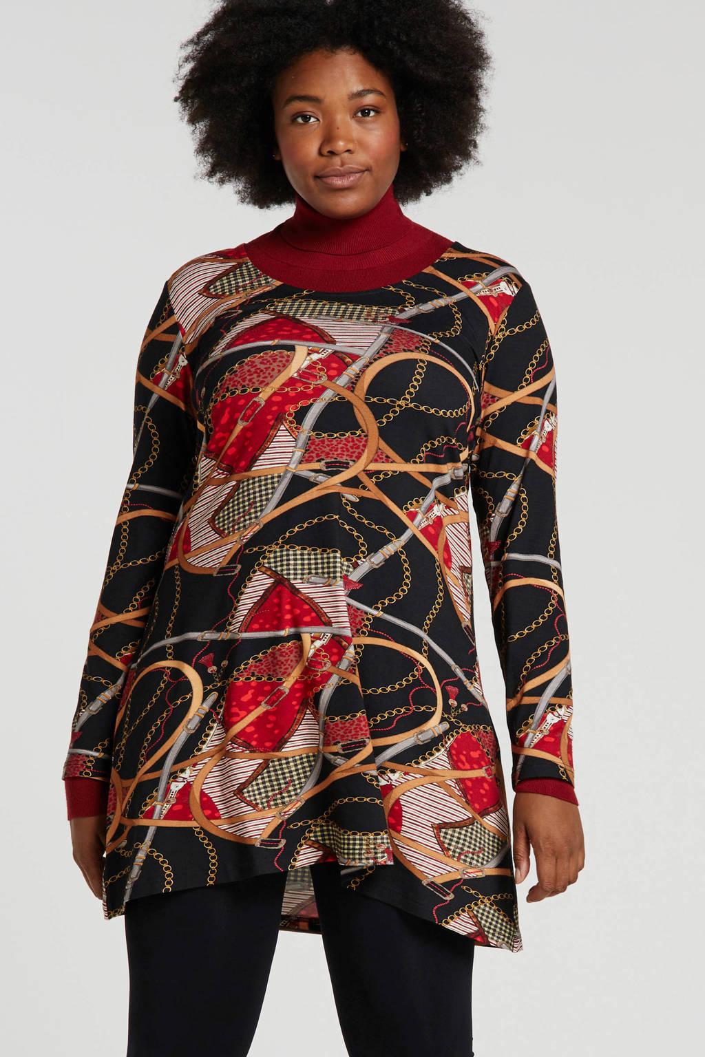 Twister tuniek met all over print rood/zwart, Rood/zwart