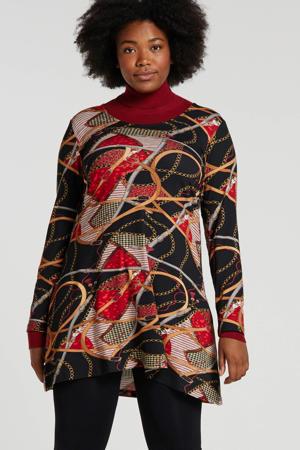 tuniek met all over print rood/zwart