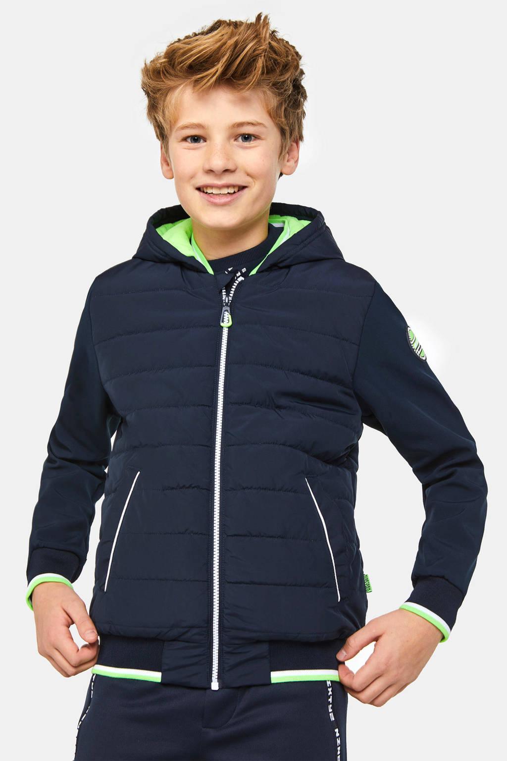 WE Fashion softshell tussenjas met fleecevoering donkerblauw/wit/groen, Donkerblauw/wit/groen