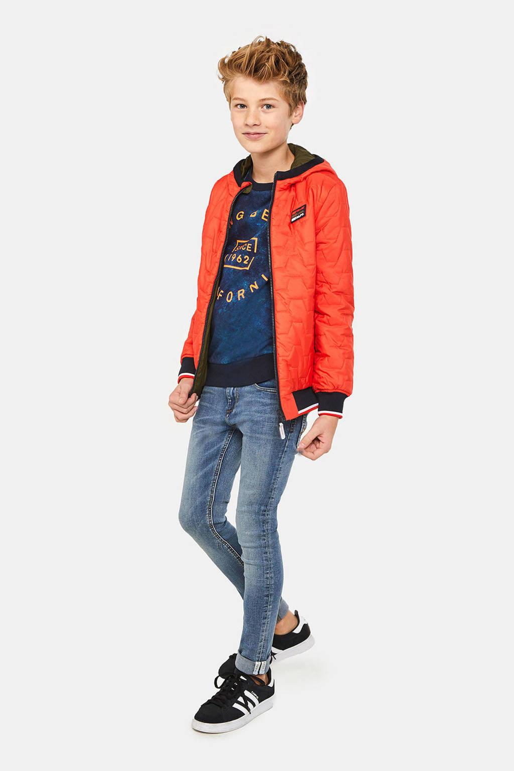WE Fashion omkeerbare jas met printopdruk rood/donkergroen