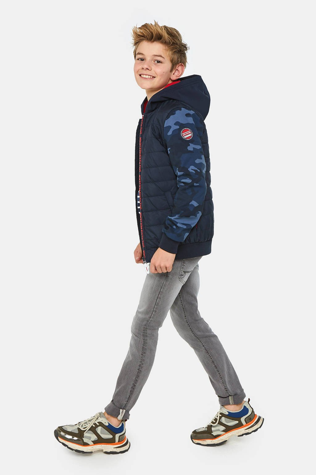 WE Fashion zomerjas met camouflageprint donkerblauw/rood, Donkerblauw/rood