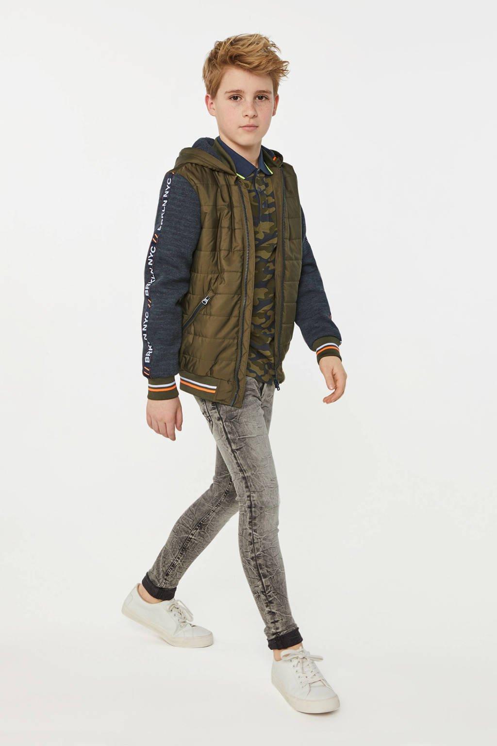 WE Fashion zomerjas met contrastbies donkergroen/antraciet/oranje, Donkergroen/antraciet/oranje