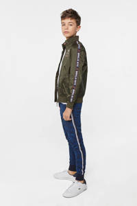 WE Fashion zomerjas met contrastbies donkergroen, Donkergroen