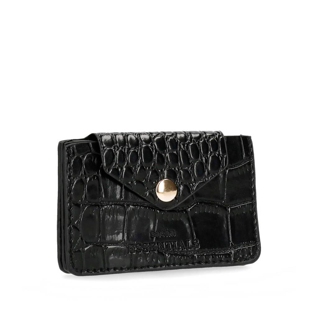 Sacha imitatie crocoleren portemonnee zwart lak, Zwart lak
