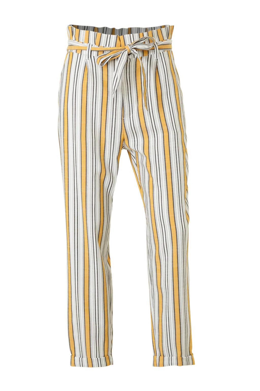 C&A gestreepte tapered fit broek ecru/geel/zwart, Ecru/geel/zwart
