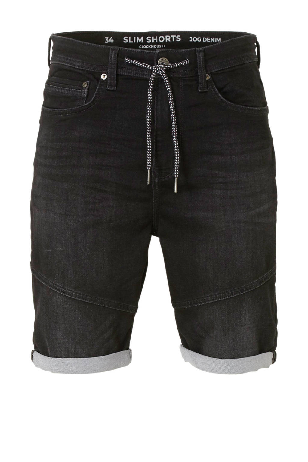 C&A Clockhouse regular fit jeans short zwart, Zwart