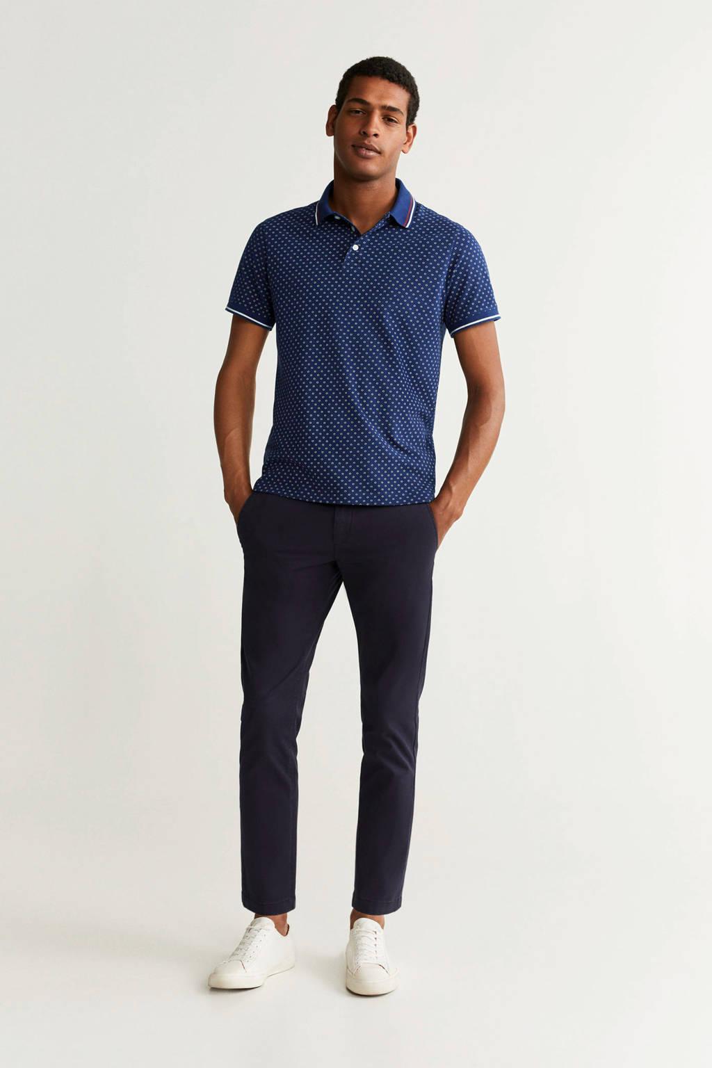 Mango Man regular fit polo met all over print blauw/ecru/rood, Blauw/ecru/rood