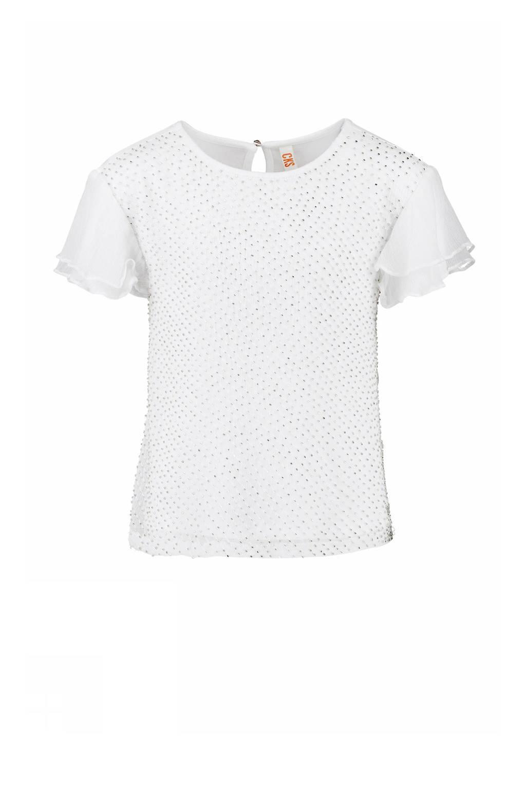 CKS KIDS top Gwendo met kraaltjes wit, Wit