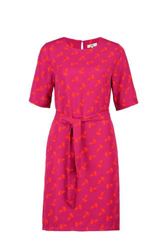 jurk met all over print fuchsia/oranje
