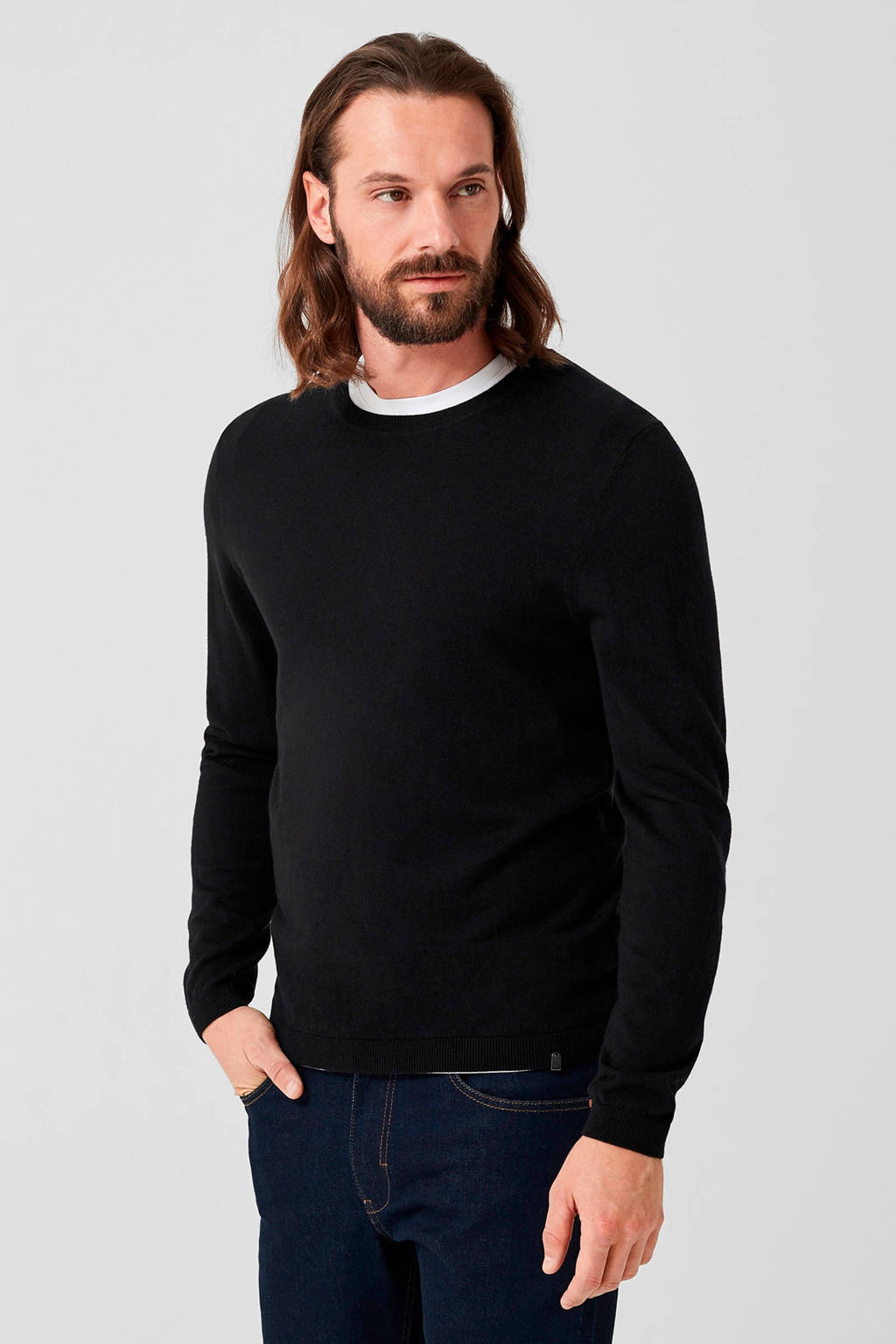 s.Oliver BLACK LABEL trui met wol zwart, Zwart