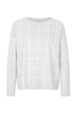 geruite trui met wol grijs