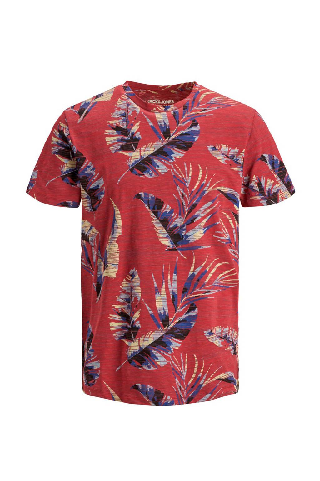JACK & JONES ORIGINALS T-shirt met all over print rood/blauw, Rood/blauw