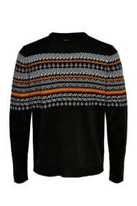 ONLY & SONS trui met all over print zwart/wit/oranje, Zwart/wit/oranje