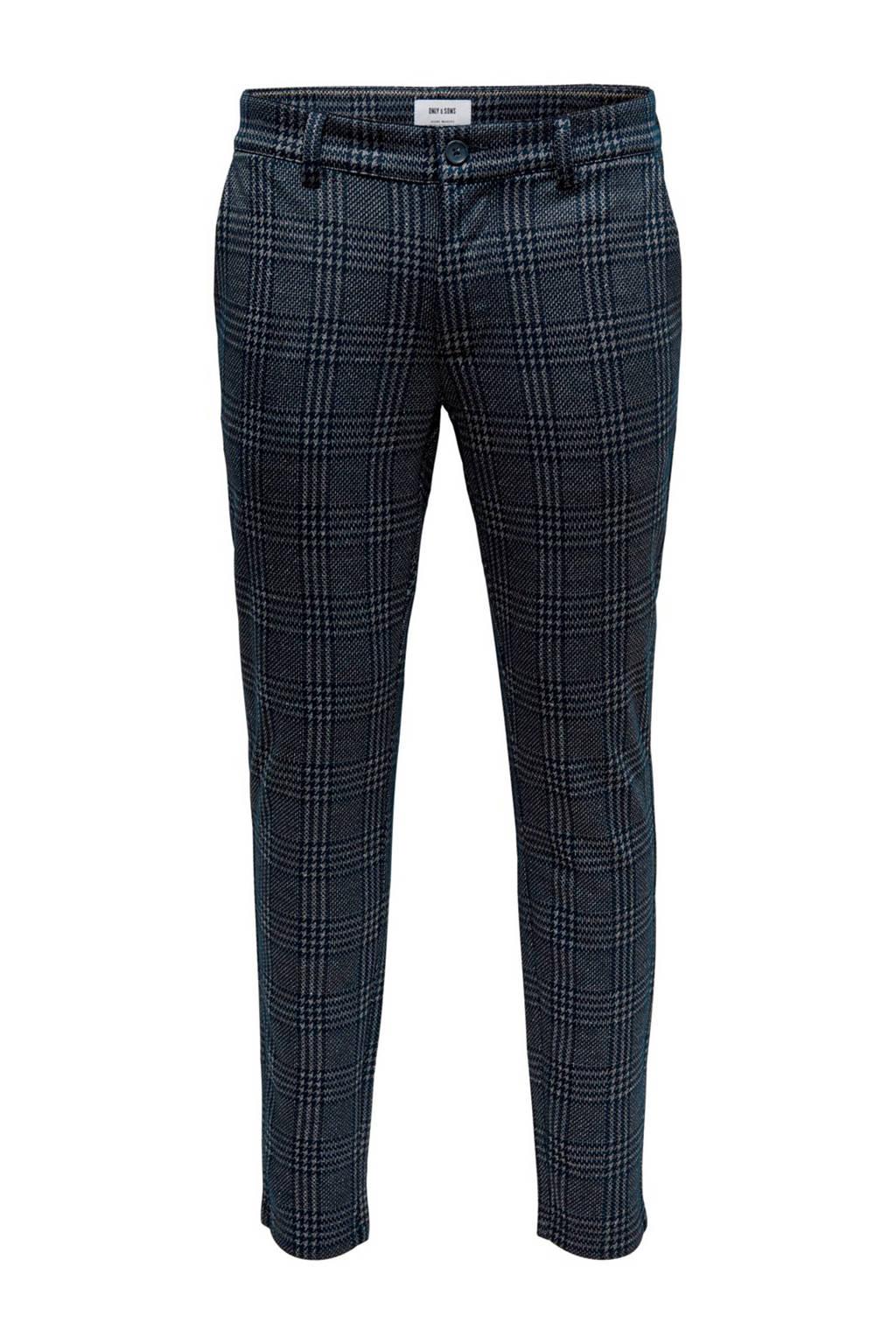 ONLY & SONS geruite slim fit pantalon donkerblauw, Donkerblauw