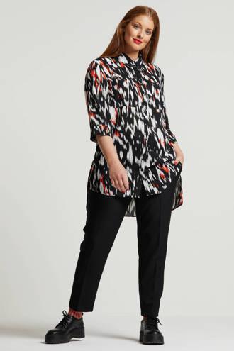 Capsule blouse met all over print zwart/wit/oranje