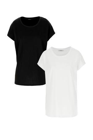 basic T-shirt wit/zwart