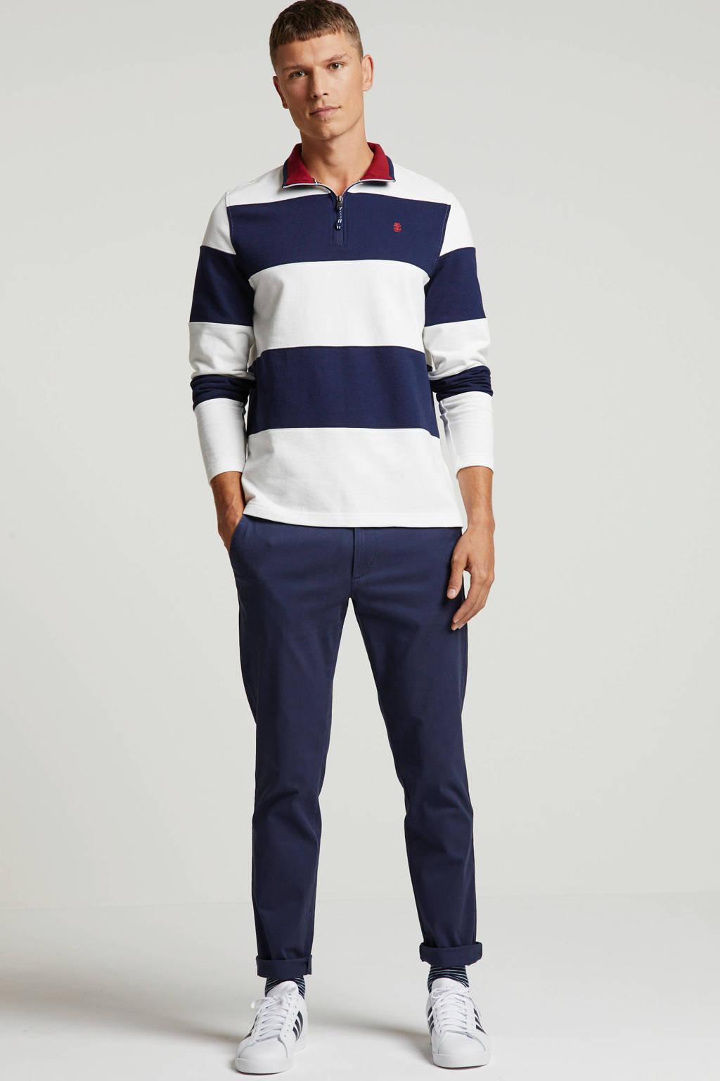 IZOD gestreepte trui wit/donkerblauw, Wit/donkerblauw