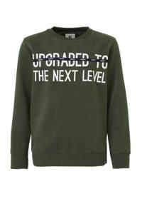 Garcia sweater met tekst donkergroen/wit/zwart, Donkergroen/wit/zwart