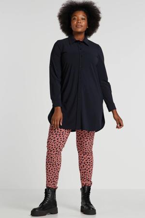 blouse van travelstof donkerblauw