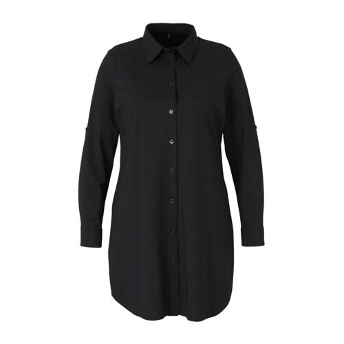 Plus Basics blouse van travelstof donkerblauw
