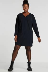 Plus Basics jersey jurk van travelstof donkerblauw, Donkerblauw