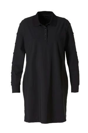 jersey jurk van travelstof zwart