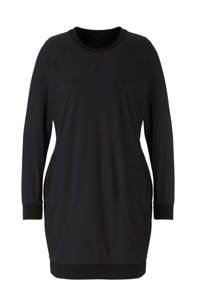 Plus Basics jersey jurk van travelstof met zijstreep zwart, Zwart
