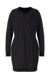 Plus Basics jersey sweatjurk van travelstof zwart, Zwart