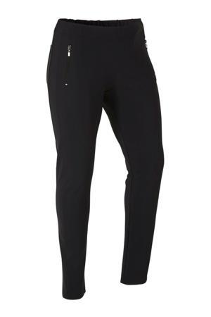 slim fit broek van travelstof zwart
