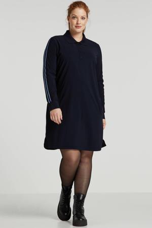blousejurk van travelstof met zijstreep donkerblauw