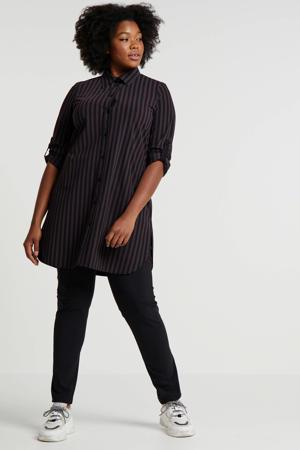 gestreepte blouse van travelstof zwart