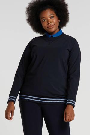 glittersweater van travelstof met zijstreep donkerblauw