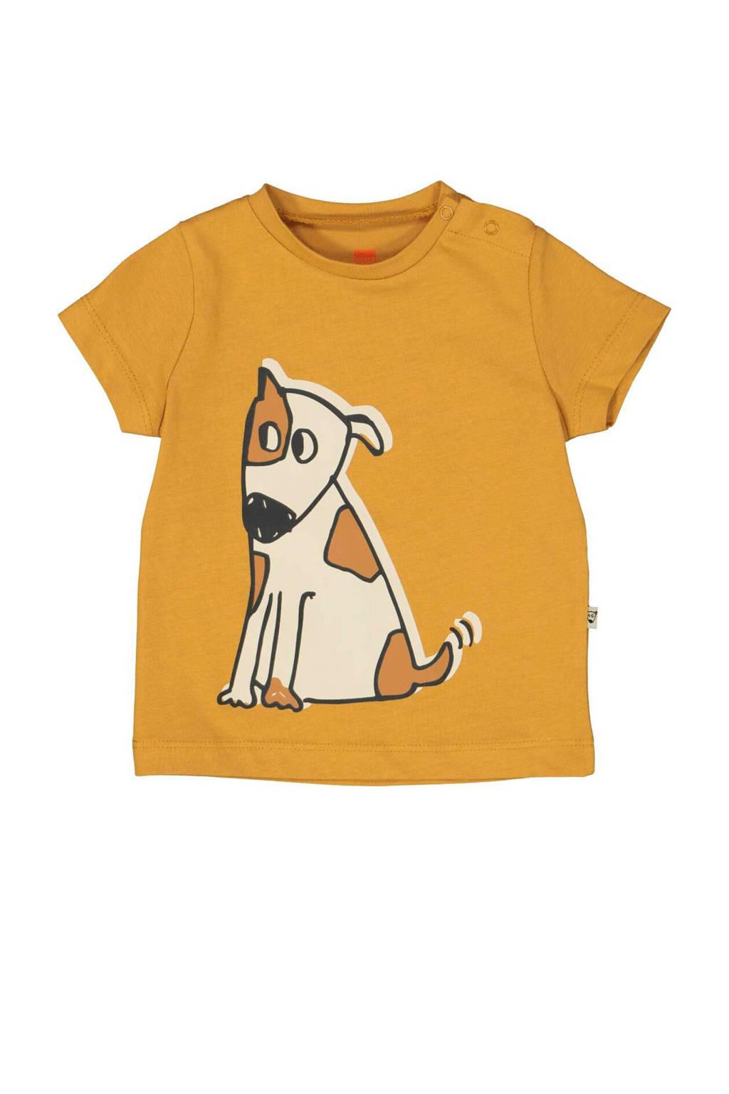 HEMA T-shirt met printopdruk lichtbruin, Lichtbruin