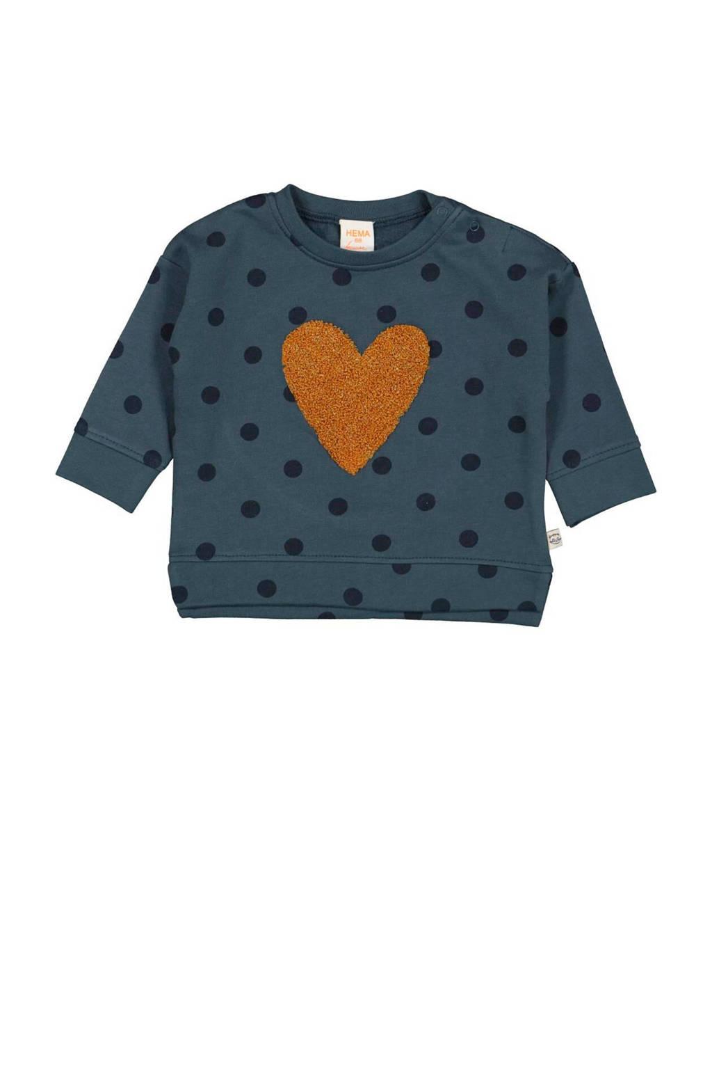 HEMA sweater met stippen donkerblauw, Donkerblauw