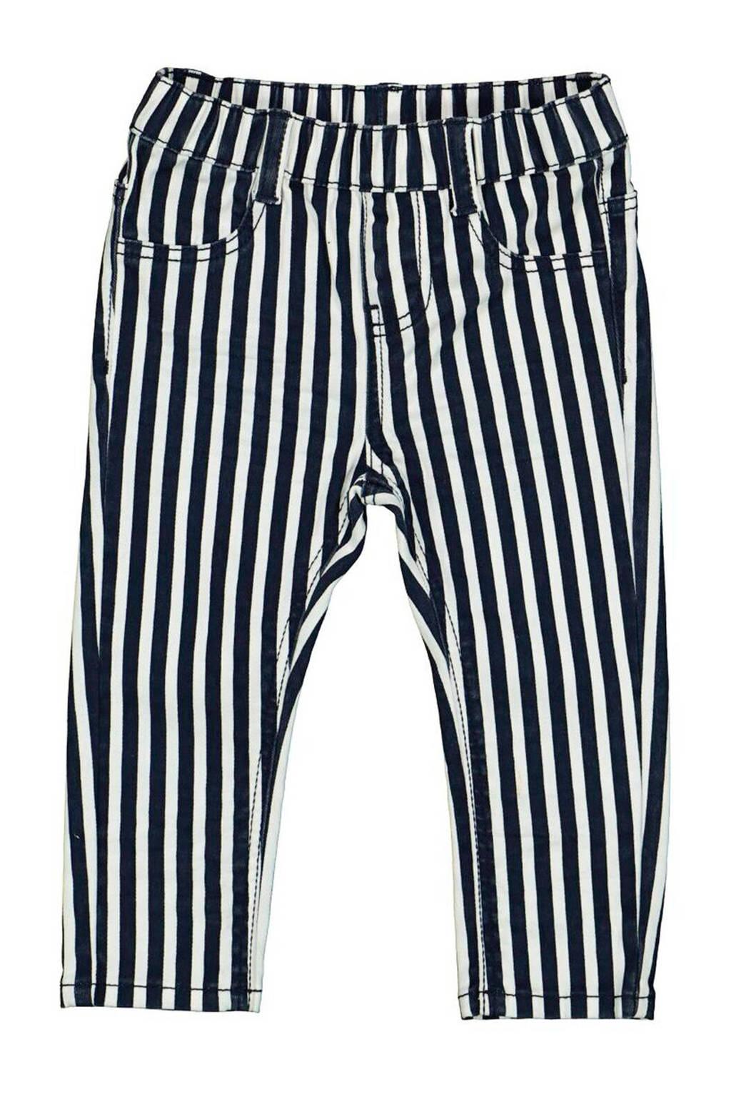 HEMA gestreepte skinny broek blauw, Blauw