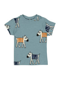 HEMA T-shirt met all over print blauw, Lichtblauw